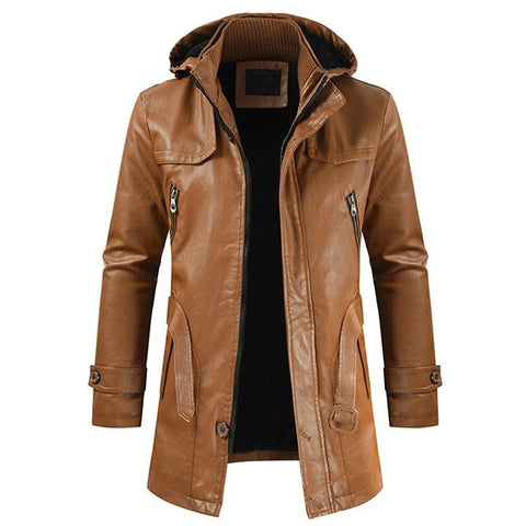 Men Winter New Long Hooded Thick Fleece Leather Jacket Parkas Men Outwear Casual Vintage Warm Faux Leather Jackets Men 3XL
