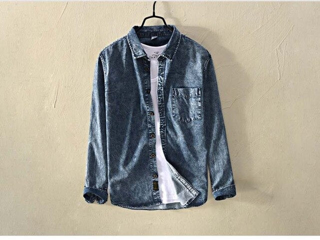 Jeans Denim Long Sleeve Jeans Shirt High Quality Blue