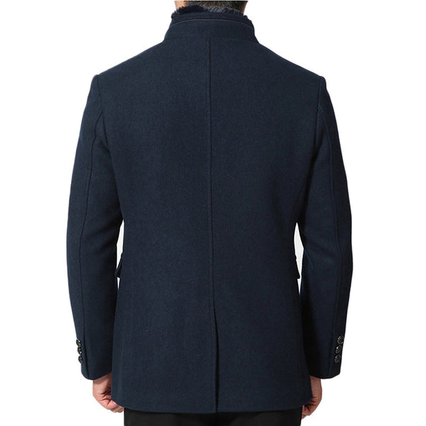 Woolen Long Jacket Men Detachable Fur Collar Solid Color Thick Overcoat Men Men's Business Warm Wool Winter Coat Clothing