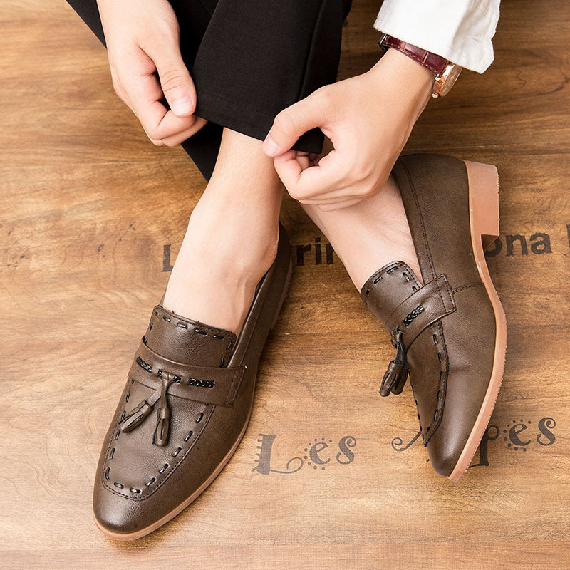 Slip-On  Autumn Genuine Leather Big Size Casual Men Shoes Tassel Vintage Business Loafers Formal Wedding Dress Shoes