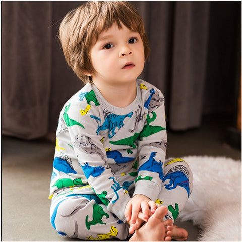 Winter Autumn Kids Thermal Underwear Thick dinosaur Cotton Children's Warm Suit Clothes Baby Boys Long Johns Pajamas