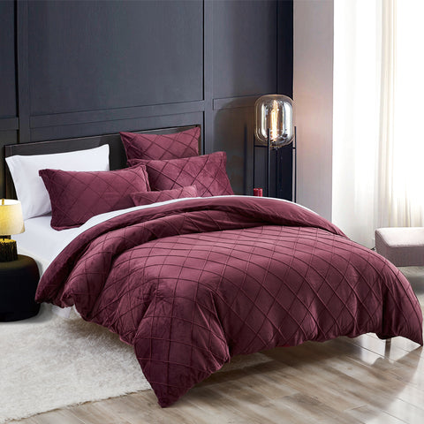 Crystal Velvet Duvet Cover Set Pinch Pleated Pintuck Bedding with Home Decor Ruffle Soft Warm Luxury Heavyweight for Winter