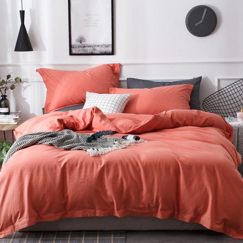 Fashion Simple Style home Solid Color Bedding Set Yarn Dyed Linen Cotton Duvet Cover Flat Sheet King Queen Size