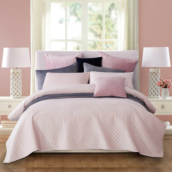 Beauty Bed Covers And Bedspreads Velvet Bedding Set Luxury 3 Pcs Soft Lightweight Bed Linen Queen King Size Grey Pink Silver