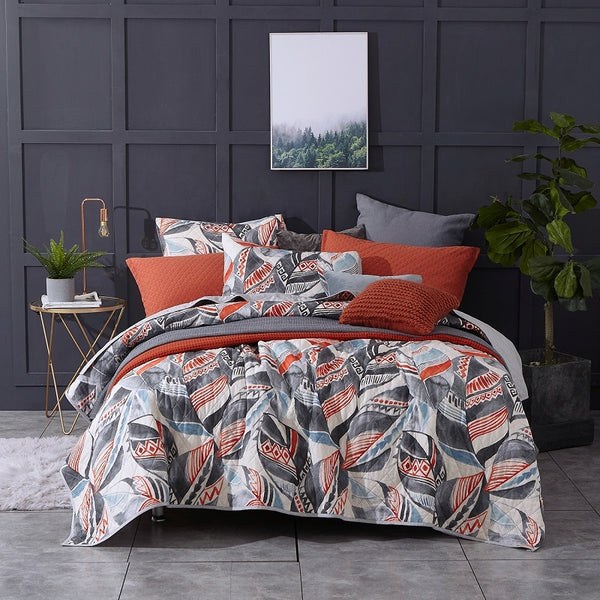 Washed Cotton Sheet Set 3 Pieces Luxury Leaf Printed Comforter Lightweight Quilt Bedding Set King Queen Size