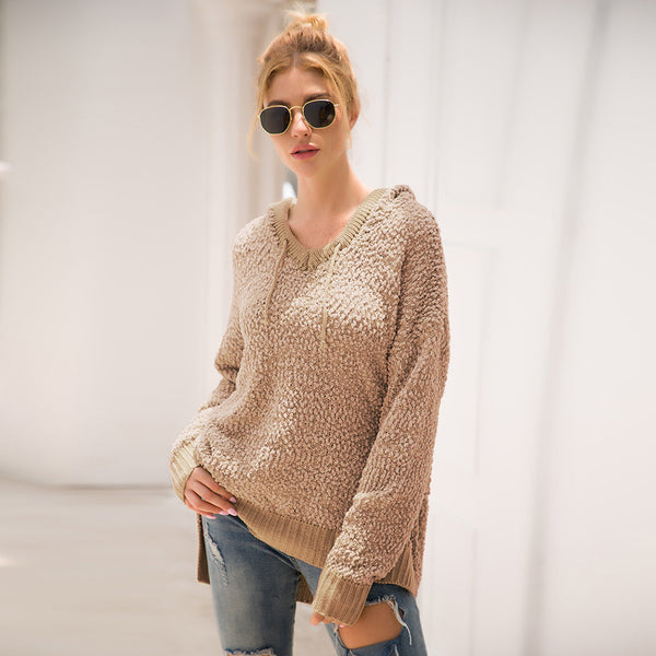 Women Sweater and Pullovers Winter Cardigan Crew Neck Cotton Solid Hooded Warm Casual Loose Long Sleeve Tops Coat Clothing