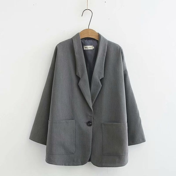 Style Women Blazers Spring Autumn Coats Plus Size Single Button Office Lady Blazers Outerwear Black Dark Grey