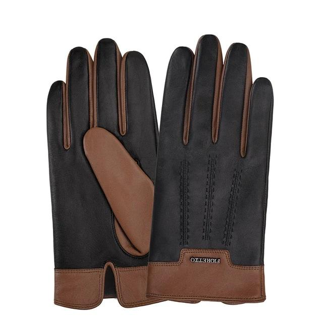 Winter Mens Leather Gloves Men Driving Leather Gloves Touchscreen Wool Cashmere Lined Gloves  Black  Brown