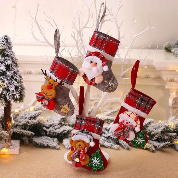 Christmas Xmas Tree Hanging Party Tree Decor Santa Stocking Sock Gift Candy Bags Lovely Gift Bag For Children Fireplace Tree