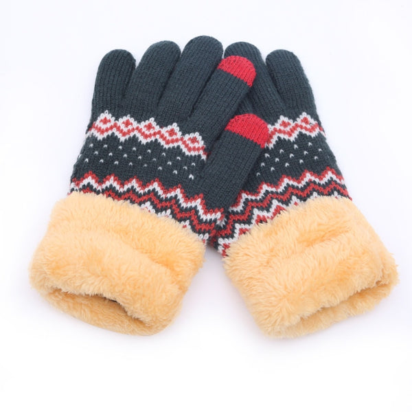 Cashmere wool Knitted gloves Velvet keep warm Touch screen gloves full finger Windproof winter glove outdoor cycling glove