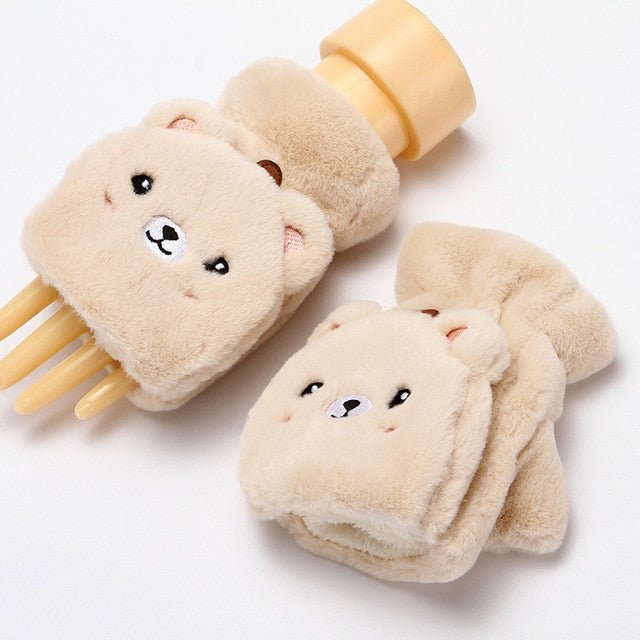 Winter Warm Lovely Cartoon Cute Rabbit Half Finger Mittens Student Flip Thickened Plush Gloves