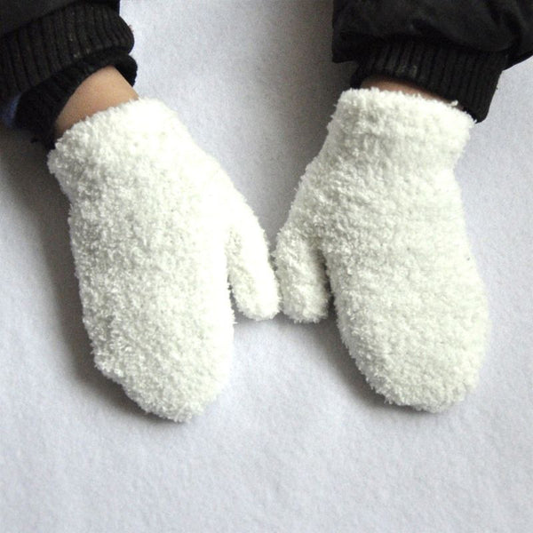 Children Winter Warm Thickened Faux Fleece Plush Full Finger Gloves Solid Candy Color Knitted Mittens Wrist Warmer 1-4T