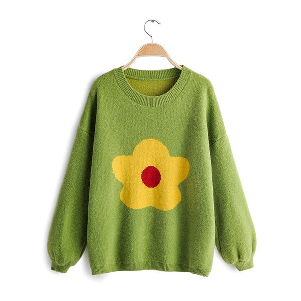 beauty Preppy Style Sunflower Sweaters Women Autumn Sweet Chic Winter Wear Knitted Pullovers Elasticity Loose Warm Tops