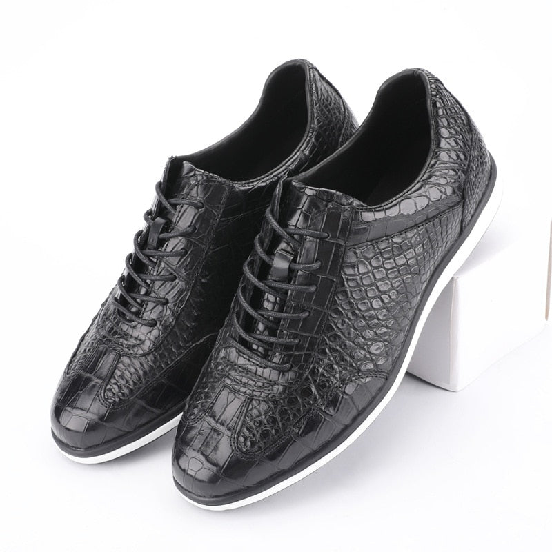 Authentic Real Male Casual Black Sneakers Genuine Leather Soft Rubble Sole Men Lace-up Flats Shoe