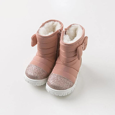 winter baby girl snow boots brand  bow solid pink shoes