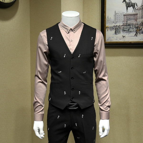 Top Quality New Mens Personality Embroidery Men Suit Formal Evening Wear Outfits Wedding Dress 3pcs Set Big Size Terno