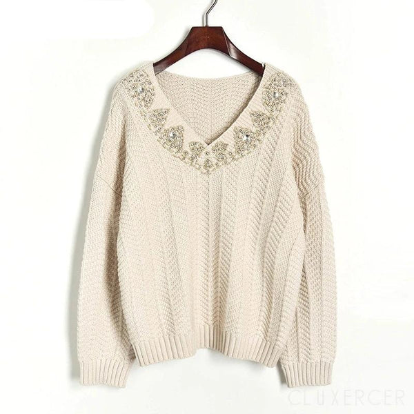 Winter Christmas Runway Women Pullovers Sweaters Luxury Beading Vintage Ladies Knitted Jumper Clothes