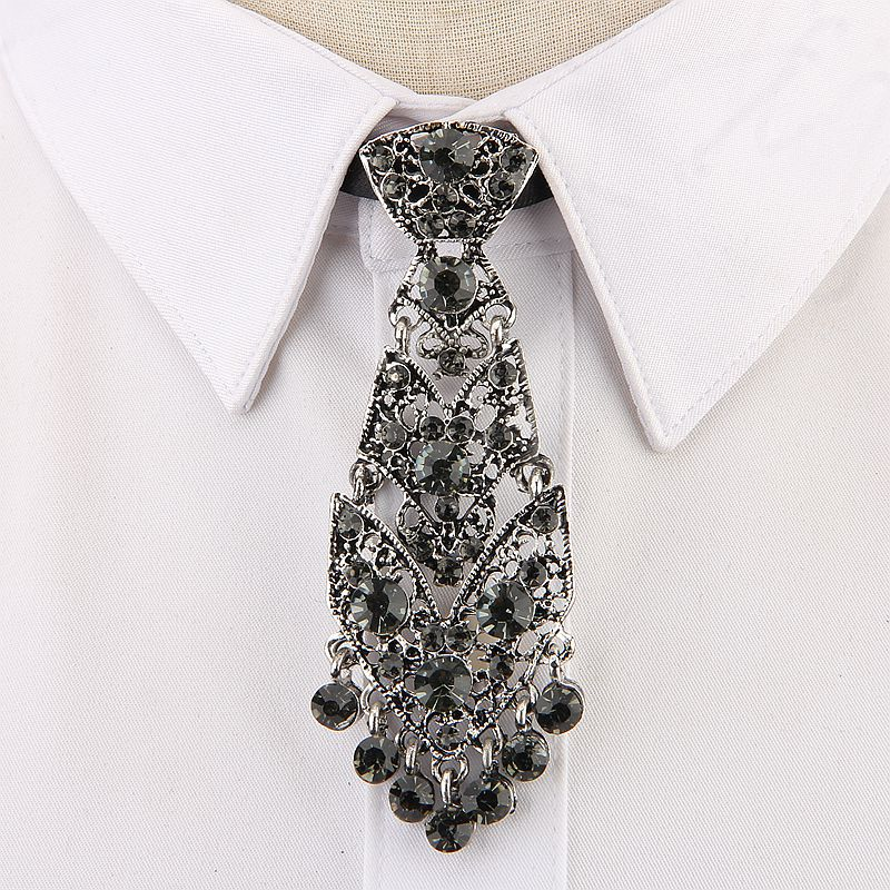 Personality Crystal Neckties Trendy General Wine Party Wedding Ceremony Metal Short Luxury Tie Men Accessories