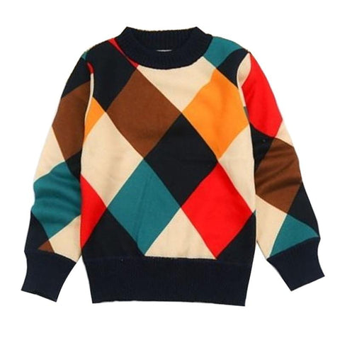 New Autumn Boys Sweater Plaid Children Knitwear Boys Cotton Pullover Sweater Kids Fashion Outerwear T-Shirt 4-14T Clothes