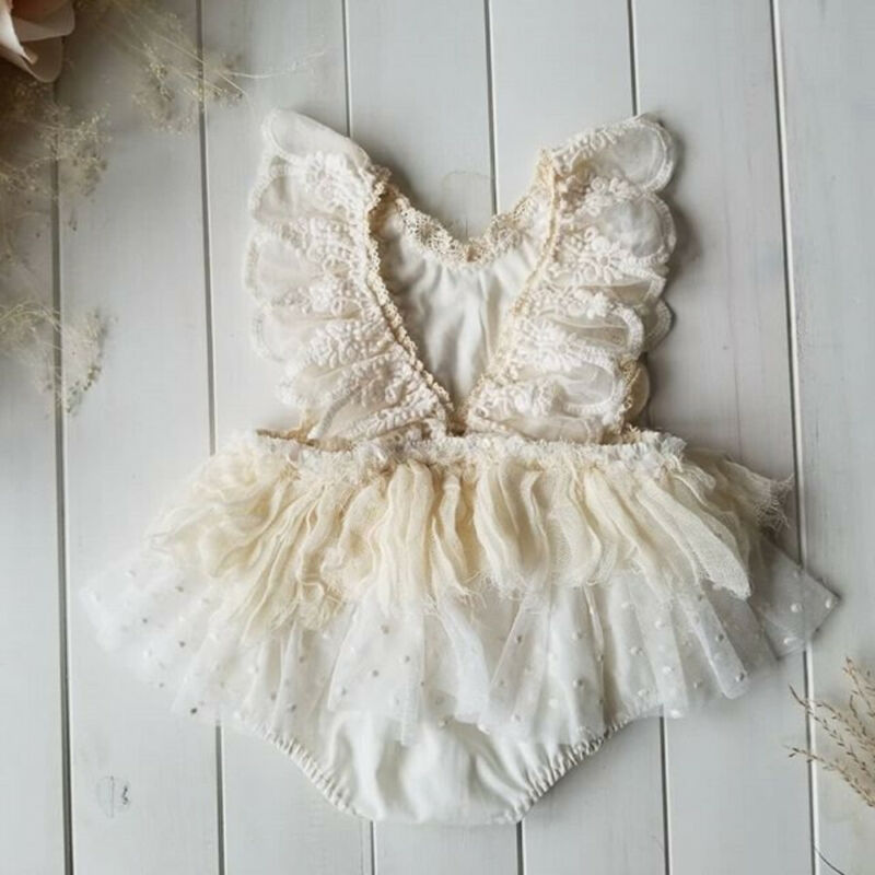 New Newborn Baby Girl Flower Lace Romper Bodysuit Jumpsuit Tutu Dress Outfit Clothes