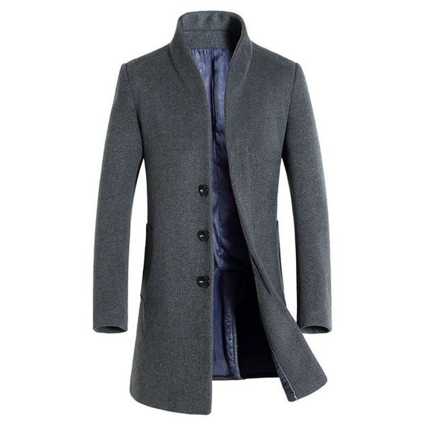 Business Single Breasted Men Wool Trench Coat Designer Casual Turn-down Collar Woolen Overcoat Men New Formal Outwear Tops