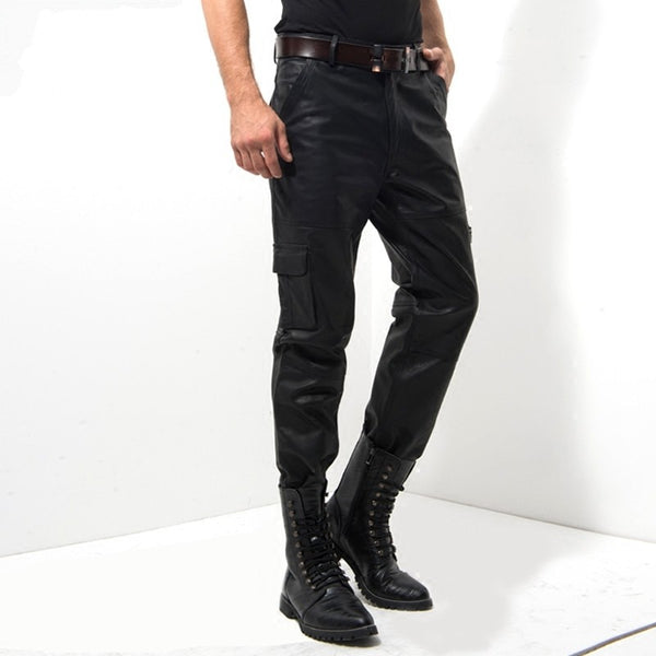 New Black Genuine Leather Pants Men Fashion Casual Plus Size Motorcycle Pants Men Leather Joggers Pantalon Homme M-XXXXL