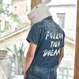 Summer Short Sleeved One Piece Men Jeans Jumpsuits Single Breasted Denim Overalls Boys Knee Length Shorts Ripped Washed Trousers