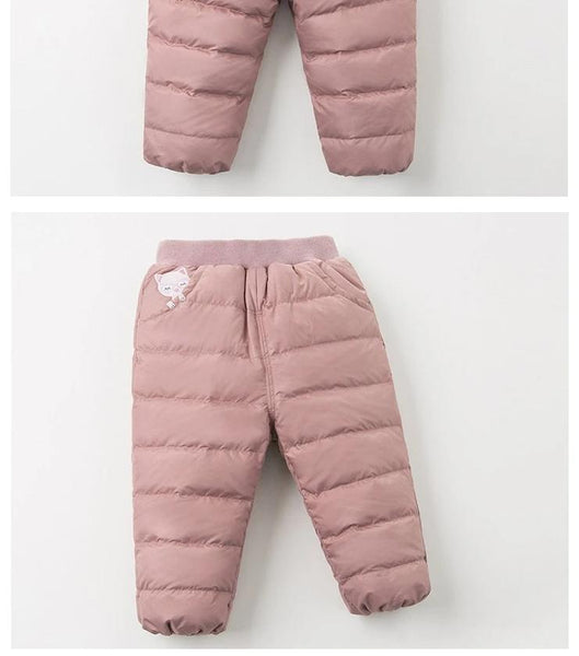 Winter unisex down pants baby cartoon pockets padded trousers children high quality down trousers