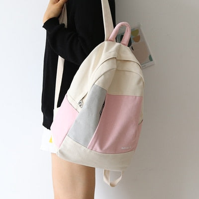 new design color match girls backpack women leisure bag teenager school student book bag daily bag young