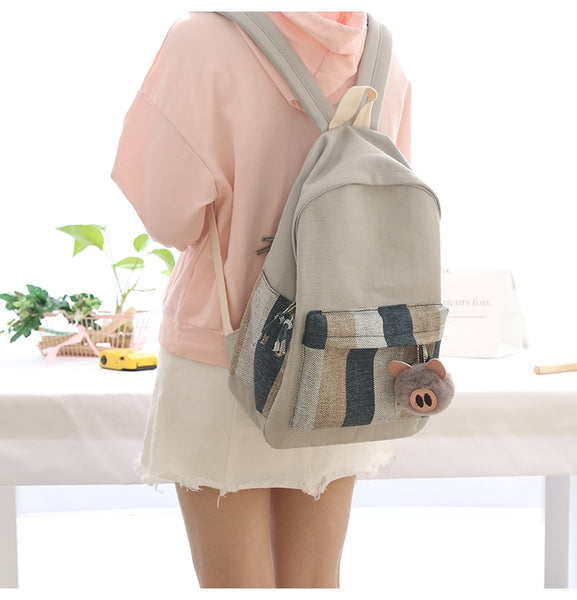 New design stripes girls canvas backpack women leisure bag teenager school student book bag daily  young travel