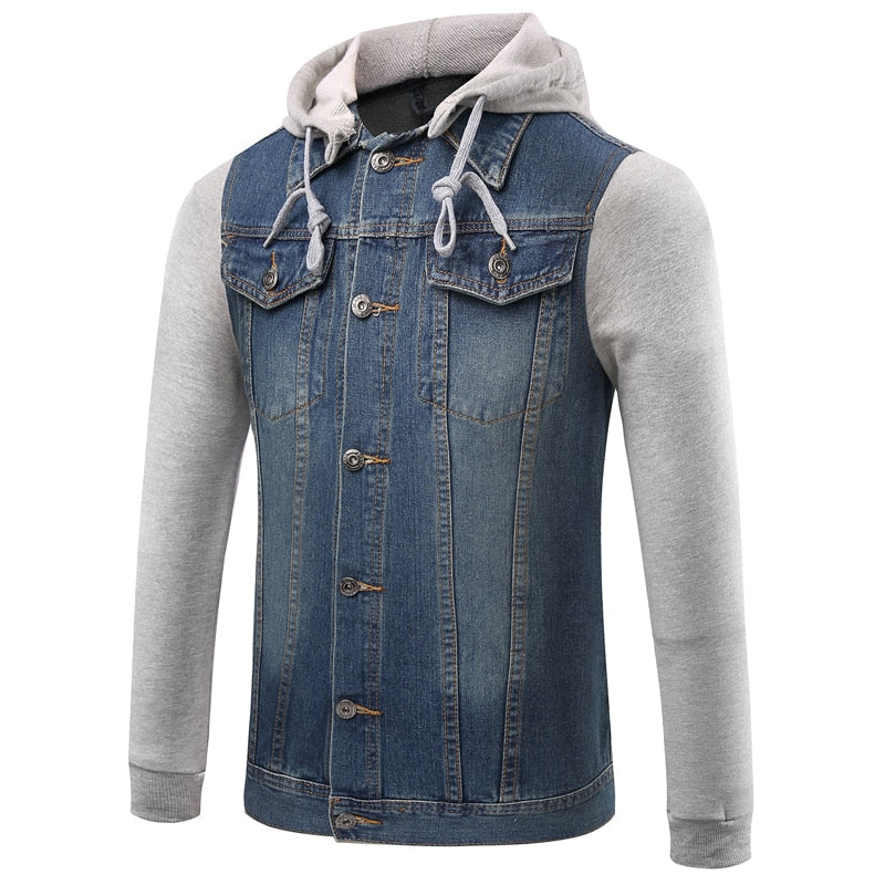 Men's Jacket New Casual Street Windproof Hooded Denim Jacket Oversized Jacket Fashion Tide Brand High Quality Slim Denim