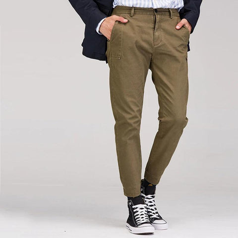 Autumn Classic Casual Pants Men Cotton Pants Elastic Leg Opening Streetwear Slim Fit Trousers Male