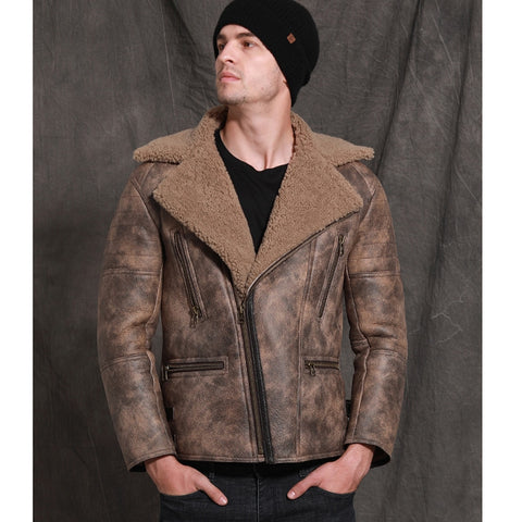 New Brown Sheepskin Fur Shearling Men Winter Thicken Natural Fur Clothing Suit Collar Formal Outwear Businessmen Fur Coat