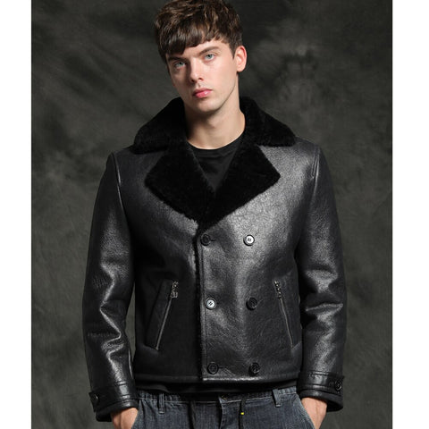New Sheepskin Fur Coat Men Short Black Natural Thicken Winter Fur Clothing Genuine Leather Formal Suit Clothes
