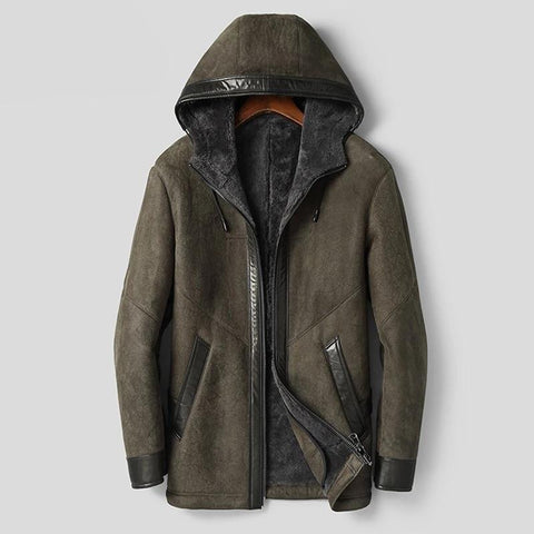 Hooded Men Sheepskin Coat Hooded Thicken Fur Clothing Army Green Casual Fur Jackets Top Quality Fur Outwear