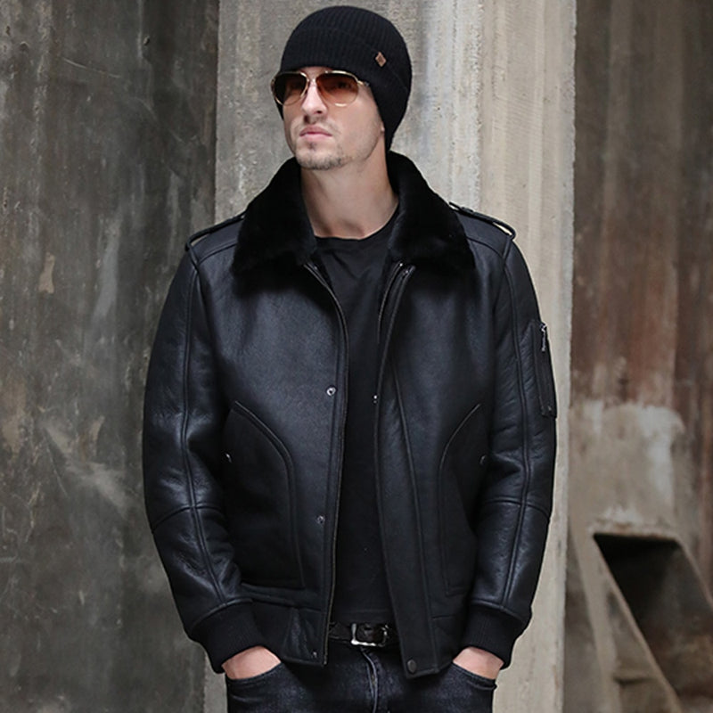 Down Collar 6xl Men Winter Real Sheepskin Fur Coat Black Genuine Leather Fur Clothing Natural Sheepskin Fur Outwear