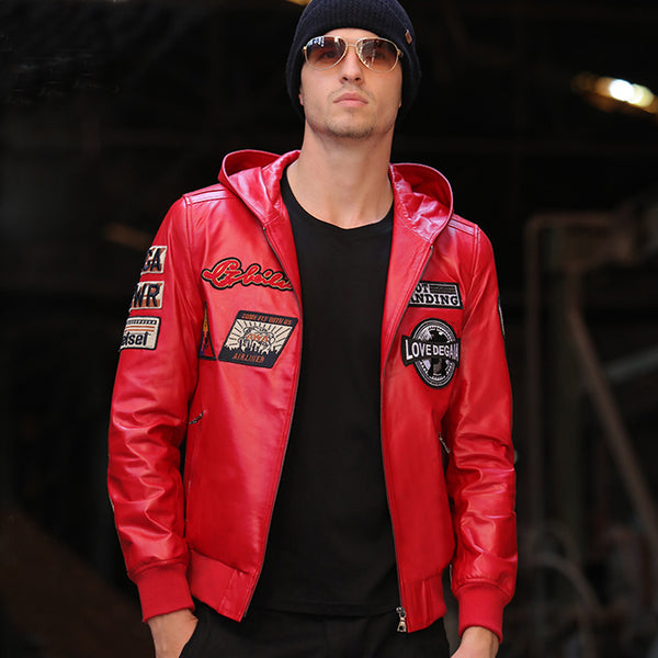 Red Leather Jacket Men Autumn Hooded Casual Leather Clothing Real Sheepskin Leather Genuine Outwear