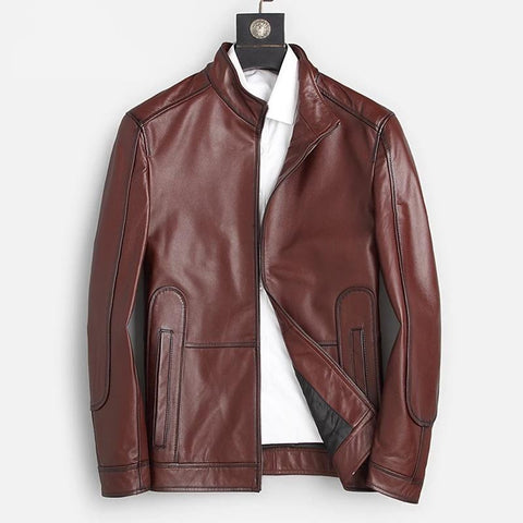 Genuine Leather Jackets Men Autumn Wine Red Leather Natural Clothing Mandarin Collar Causal Leather Real Coats