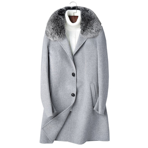 Real Sheep Wool Men Overcoat Big Fox Fur Collar woolen Hand sewed overcoat Casual Style Cashmere Men Fashion coat Extra Big Size