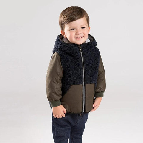 Winter baby boys cotton clothing hooded  zipper children outerwear kids coat