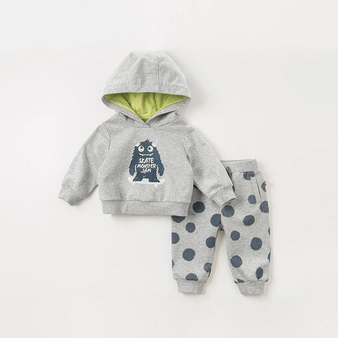 Autumn baby boys active clothing sets  long sleeve pants  hooded suits children print clothes