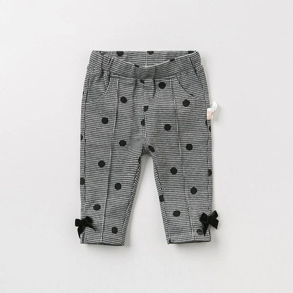Autumn baby girl pants children full length dots pants infant toddler bow trousers