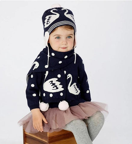 Winter baby girls navy jacquard cotton wool hat scarf