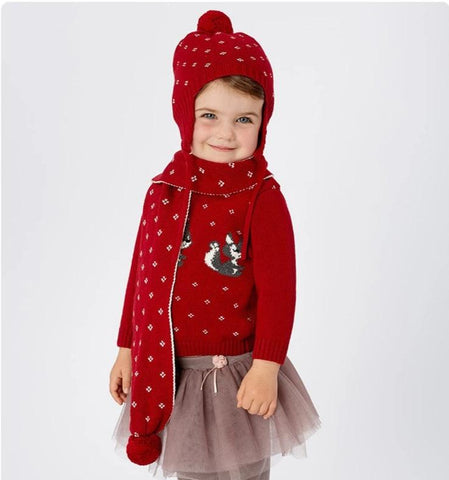 Winter baby girls red jacquard cotton wool hat scarf