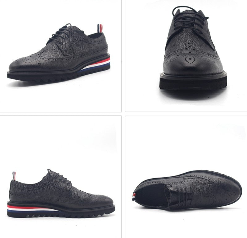 Mens Formal Genuine Leather Shoes Antiskid Platform Lace Up Derby Shoes Wing Tip Brogue Groom Wedding Dress Shoes