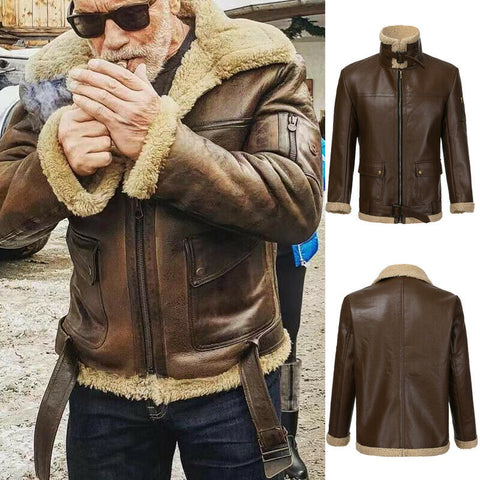 Winter Men Retro Faux Leather Jacket Stand Collar Zipper Lined With Wool Warm Coat Brown Cool Style Plus Size M-3XL