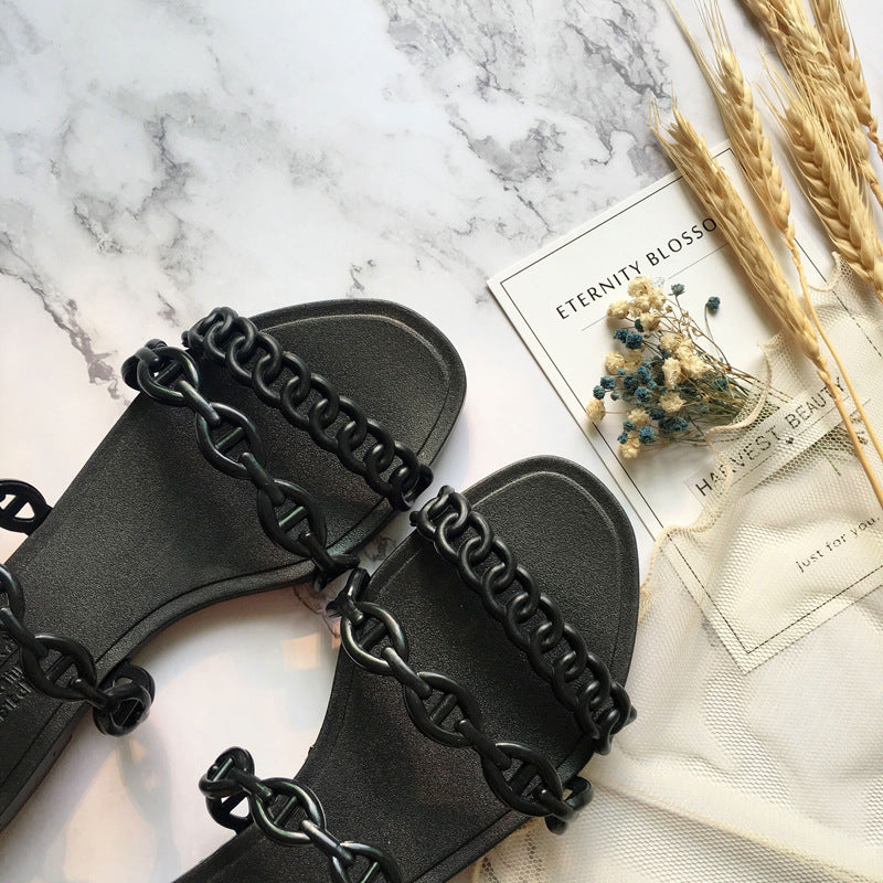Summer Beach Woman Flip Flops Valentine Slippers PVC Slides Female Sandals Slip on Flat with Women Studs Slippers Jelly Shoes