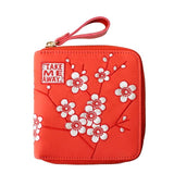 Nylon Embroidery Floral Wristlet Clutch Wallet Women Purse Card Holder Organizer Teenage Girls Ladies Hand Bag