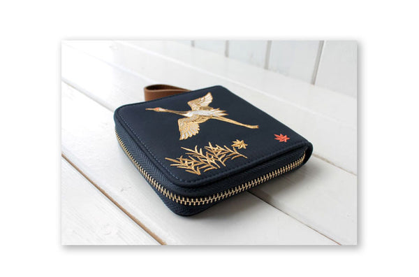 Nylon Embroidery Crane Wristlet Clutch Wallet Women Purse Card Holder Organizer Teenage Girls Ladies Hand Bag