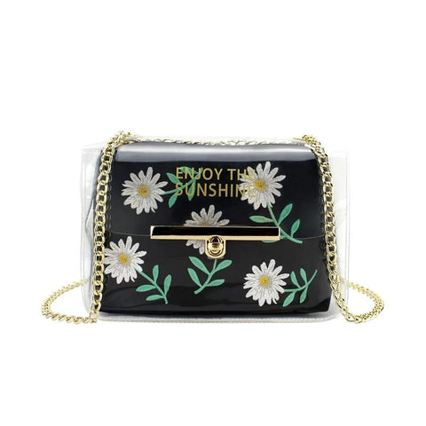 Woman Composite Bag Embroidery Daisy Chain Shoulder Bag Transparent Clear Crossbody Bag Women PVC Handbags